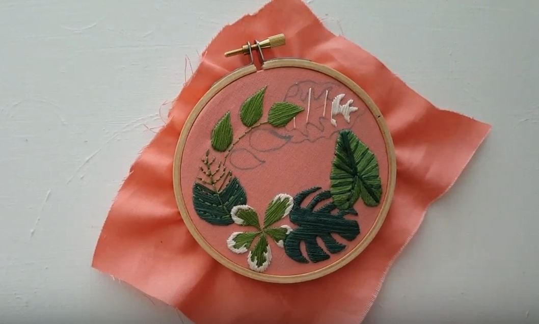 framed crewel embroidery