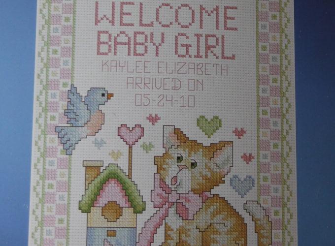 birth announcement cross stitch
