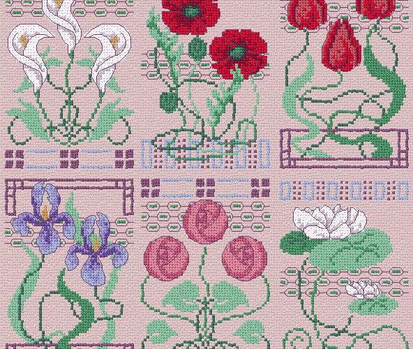 cross stitch flower designs with graphs