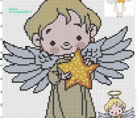 free angel cross stitch patterns to print