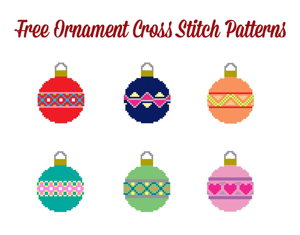 free cross stitch pattern mini christmas ornaments