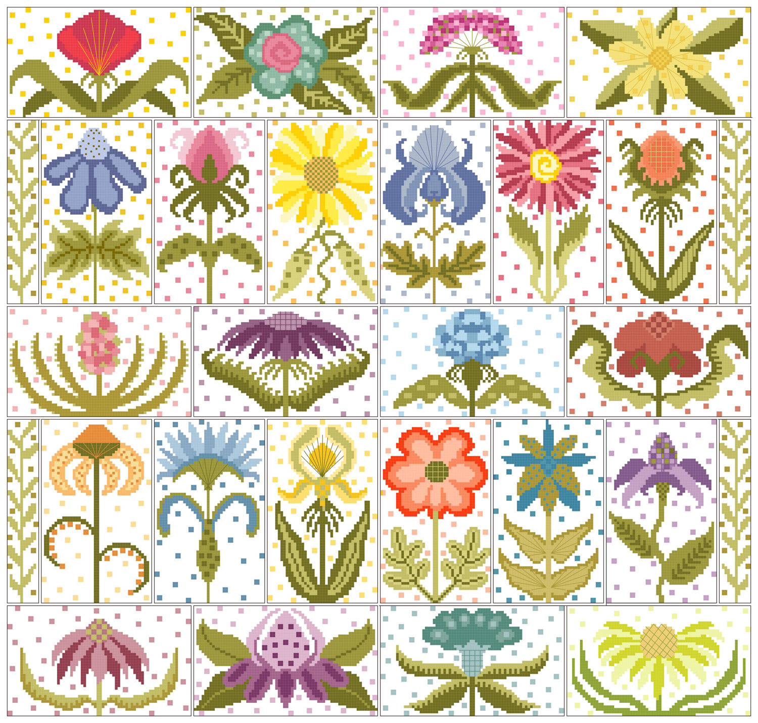free flower cross stitch patterns