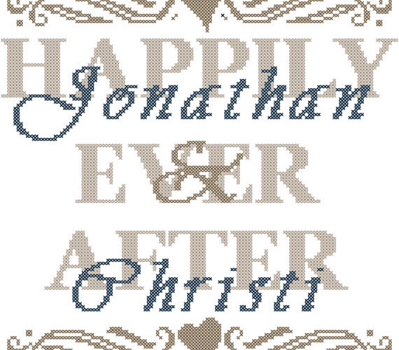 modern wedding cross stitch