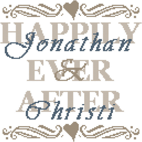 modern wedding cross stitch