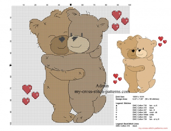 teddy bear cross stitch patterns free